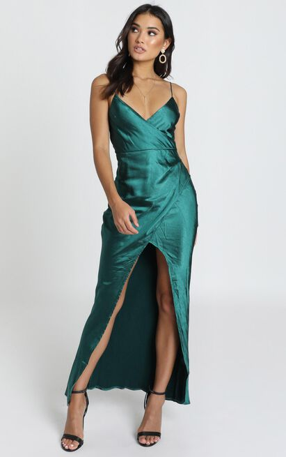 Hold Me Maxi Dress in teal satin - 6 (XS), Green, hi-res image number null