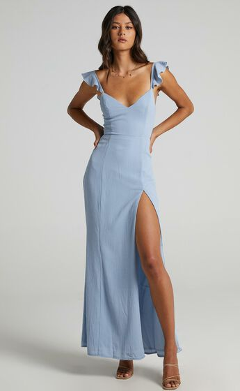 More Than This Ruffle Strap Maxi Dress in Light Blue