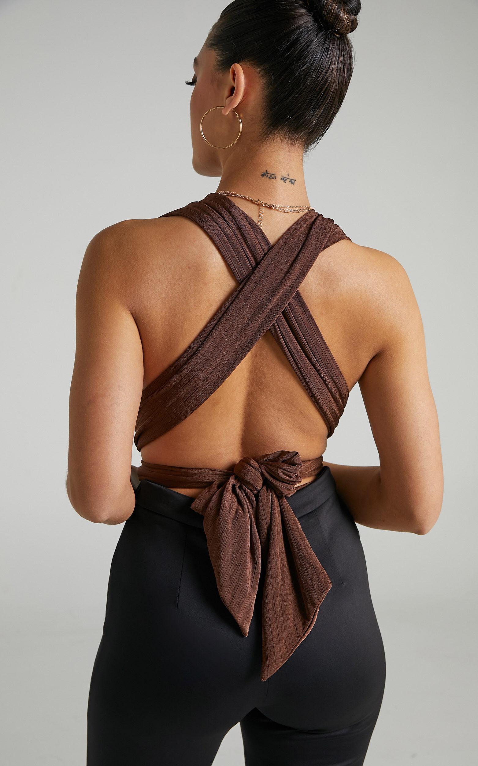 Kimbaa Slinky Multi tie bodysuit in Chocolate - 06, BRN2, super-hi-res image number null