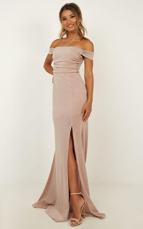 Girls Intentions Maxi Dress In Blush Lurex