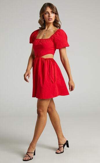Loriella Waist Cut Out Skater Skirt Dress in Red
