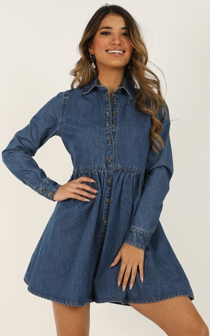 The Things You Do Dress In blue denim - 12 (L), Blue, hi-res image number null