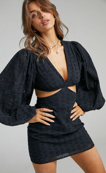 Jordyn Puff Sleeve Cut Out Mini Dress in Black Embroidery Anglaise