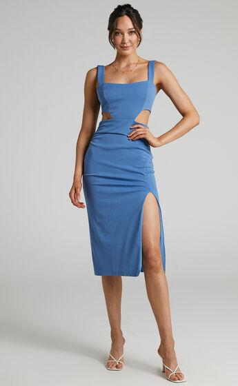 Milah Square Neck Cut Out Midi Dress in Cornflower Blue