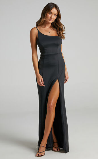No Ones Fault One Shoulder Maxi Dress in Black