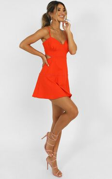 Tell Me How To Love Dress in Orange Linen Look