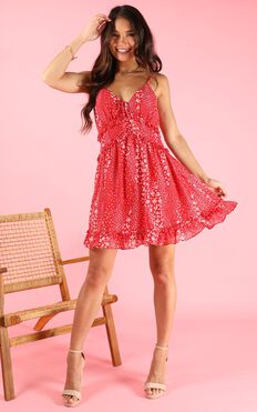 Touch of Paradise Dress In Red Print
