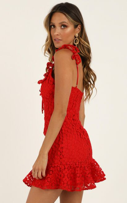 Hear The Answer dress in red lace - 12 (L), Red, hi-res image number null