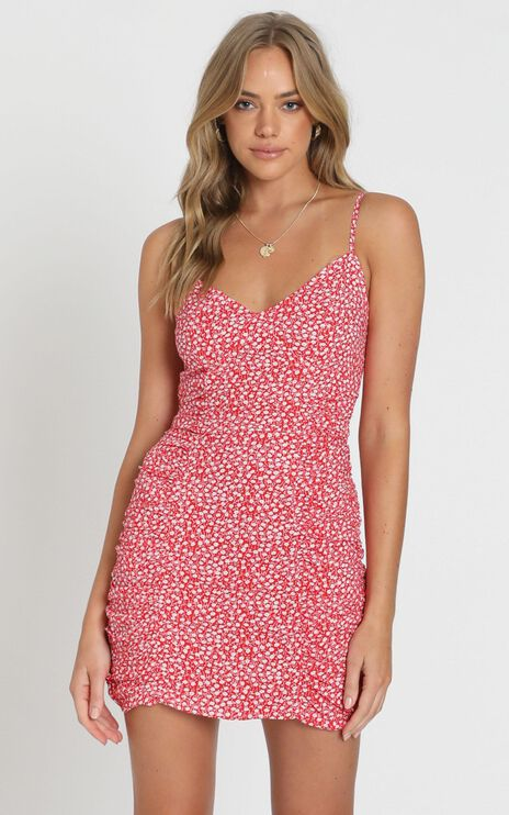 Flaming Star Dress In Red Print