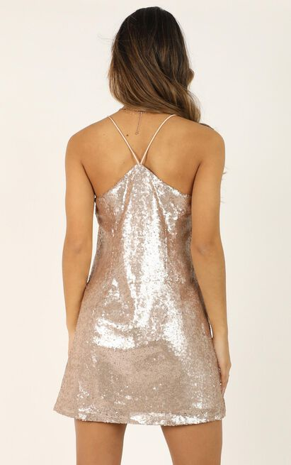 Nights In Vegas Dress in Champagne Sequin  - 4 (XXS), Beige, hi-res image number null