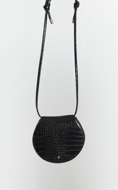 Peta And Jain - Venice Saddle Bag In Black Croc