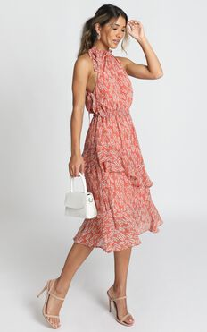 Audrina High Neck Maxi Dress In Rose Floral