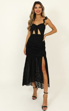 How Do You Wonder Dress In Black Mesh Polka
