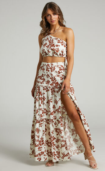 Meghan One Shoulder Two Piece Set with Maxi Skirt in Shadow Floral