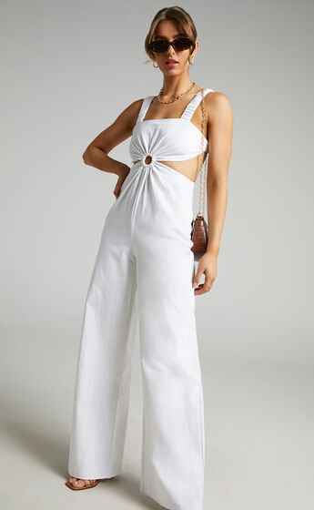 Cardilyn Jumpsuit with Ring at Waist in White