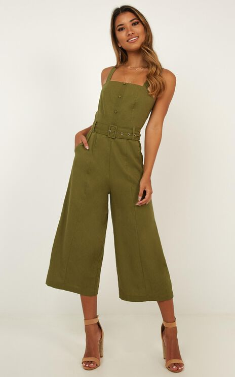 What If Jumpsuit In Khaki Linen Look