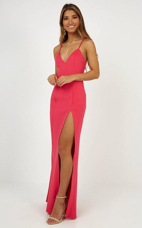 Dare To Dream Maxi Dress In Hot Pink
