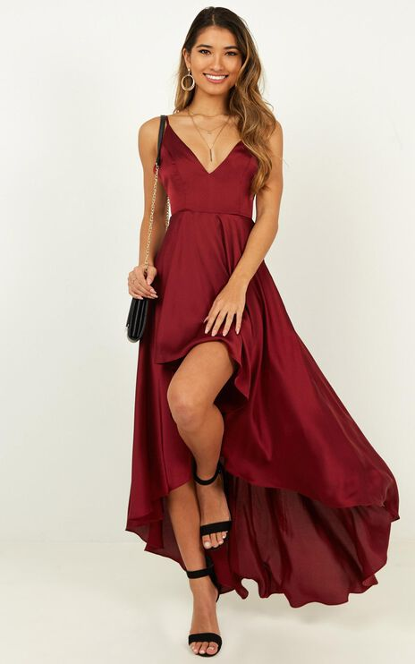 Light The Way Dress In Wine Satin