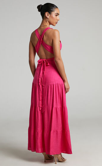 Delima two piece top and skirt set in Hot Pink