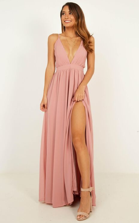 Shes A Delight Maxi Dress In Dusty Rose