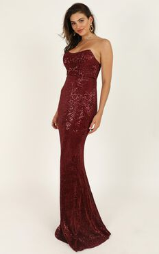 Sky Of Sparklers Dress In Wine Sequin