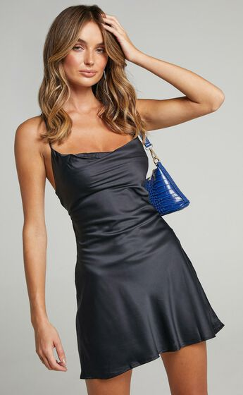 Before Your Time Dress in Black Satin