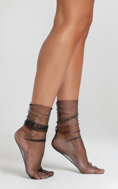 Shiny Things Crystal Socks in Black