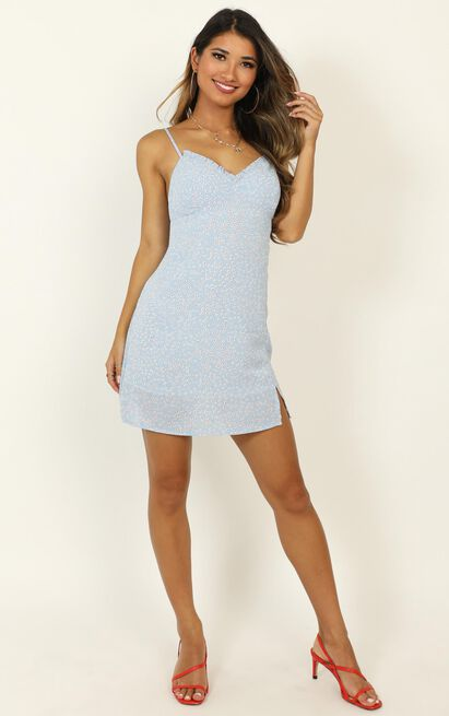 Don't Escape Me dress in blue floral - 16 (XXL), Blue, hi-res image number null