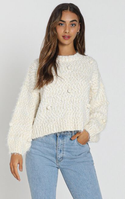 Sia Bobble Knitted Jumper in cream - S/M, Cream, hi-res image number null