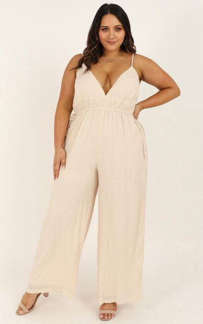 Meeting You There Jumpsuit in  cream linen look - 20 (XXXXL), Cream, hi-res image number null