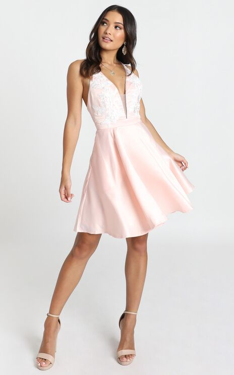Dallas Mini Dress In blush Pink