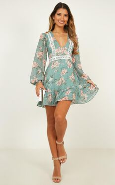 Since You Left Dress In Green Floral
