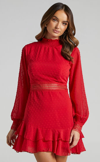 Are You Gonna Kiss Me Long Sleeve Mini Dress in Red