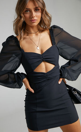 Lillian Mini Dress with Chiffon Sleeves in Black