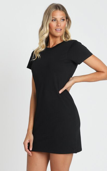 AS Colour - Mika Organic Tee Dress in Black - 6 (XS), Black, hi-res image number null
