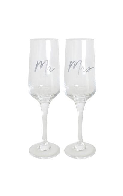 Mr & Mrs Wedding Champagne Flute Set , , hi-res image number null