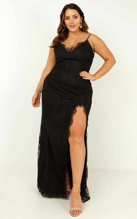 Stay Flow Dress In Black Lace