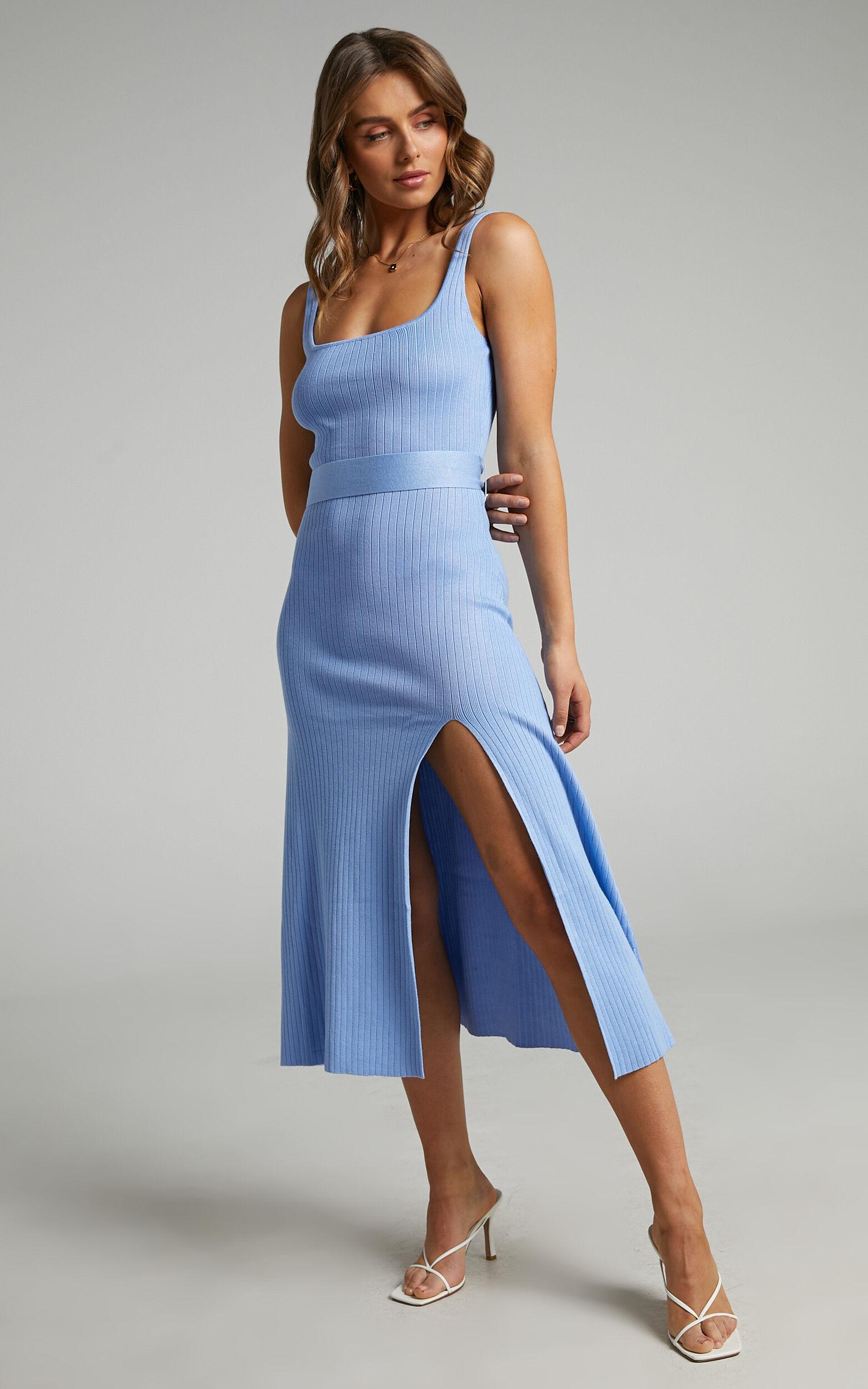 Cinnia Belted Knit Midi Dress in Cornflower Blue - 04, BLU1, super-hi-res image number null