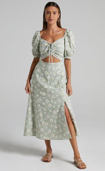 Elessar Dress in Sage Daisies