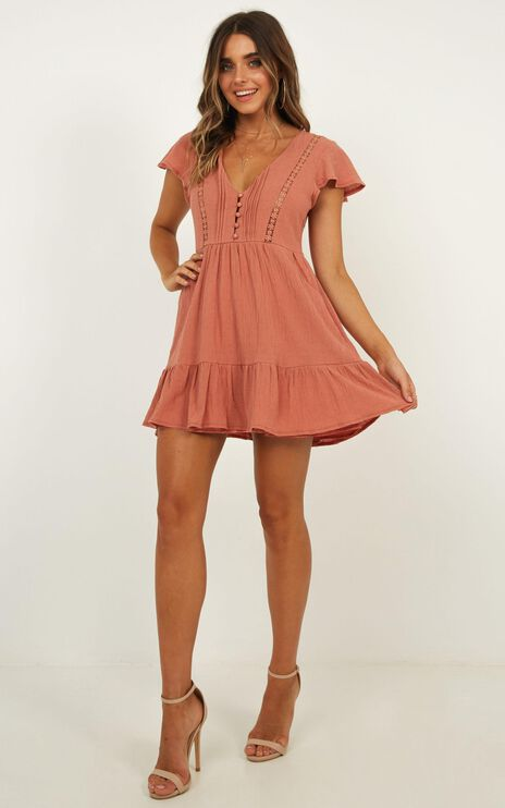 No Time Wasted Dress In Dusty Rose Linen Look