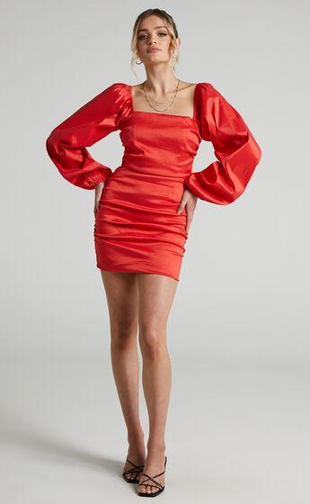 Josefina Puff Sleeve Ruched Tie Back Dress in Tangerine