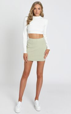 Lydia Knit Mini Skirt in Sage