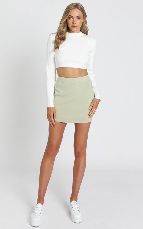 Lydia Knit Mini Skirt in Sage