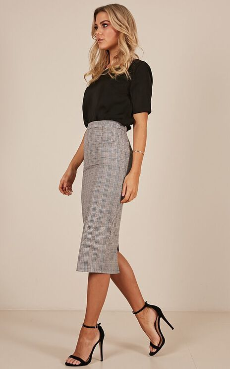 Director Skirt In Grey Check