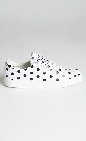 Superga - 2843 Club S Leather Print Sneakers in A5S White Dots Black
