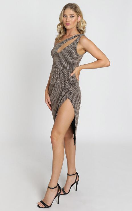 Coventry One Shoulder Dress in Gold