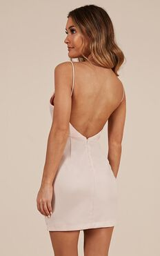 Fool For Temptation Dress In Nude Satin