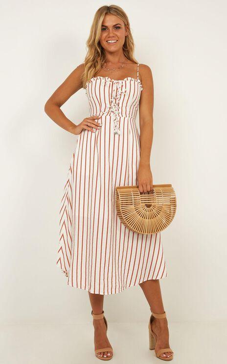 Changing Sun Dress In Rust Stripe