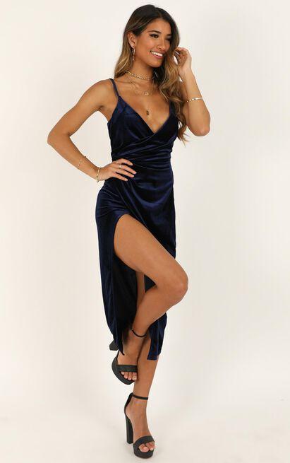 Loving Blind Dress in navy velvet - 20 (XXXXL), Navy, hi-res image number null