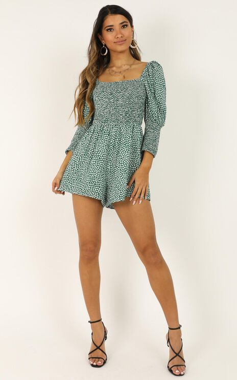 Beauty Is Within Us Playsuit In Green